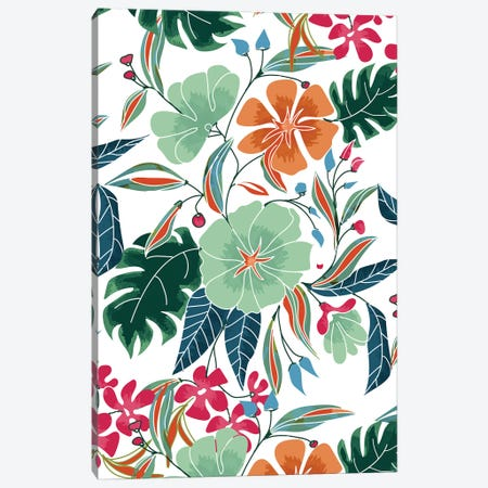 Minty + Rust Floral Canvas Print #UMA832} by 83 Oranges Canvas Art