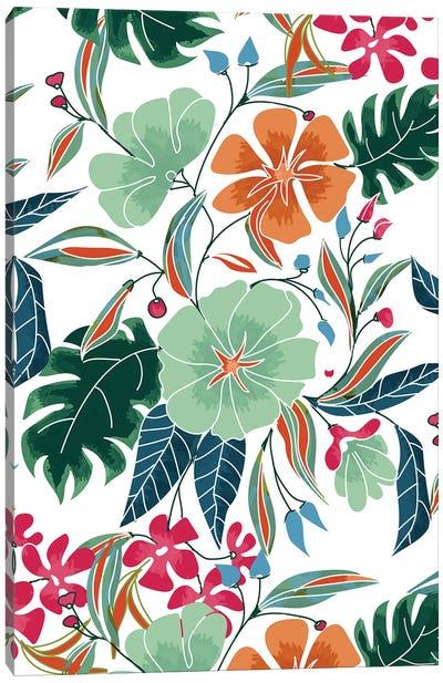 Minty + Rust Floral Canvas Art Print