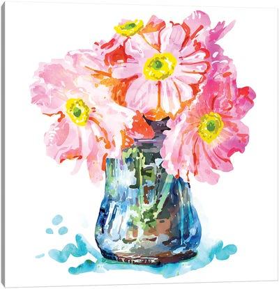 Watercolor Flower Pot Canvas Art Print