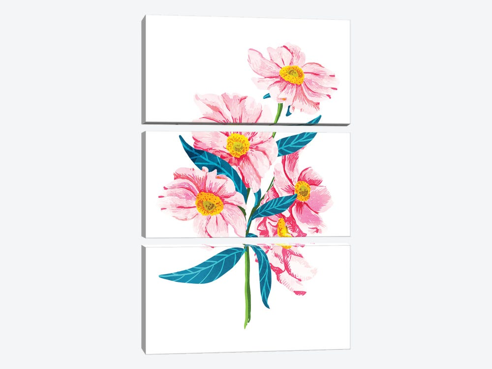 Pink Floral II by 83 Oranges 3-piece Canvas Art
