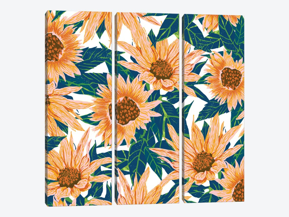 Blush Sunflowers by 83 Oranges 3-piece Canvas Print