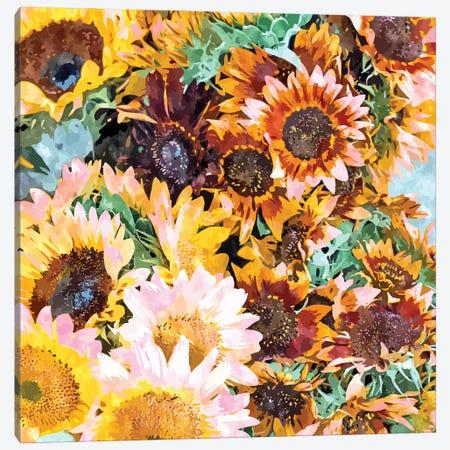 Summer Sunflowers, Modern Bohemian Urban Jungle Painting, Botanical Floral Blush Garden Nature Canvas Print #UMA872} by 83 Oranges Canvas Art