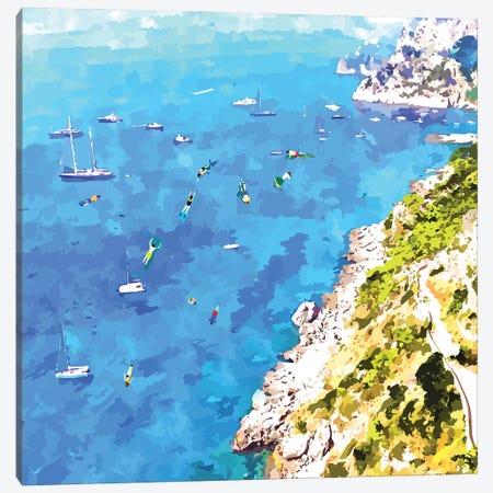 Capri Island, Italy Tropical Travel, Nature Landscape Painting, Ocean Beach Summer Illustration Canvas Print #UMA873} by 83 Oranges Canvas Wall Art