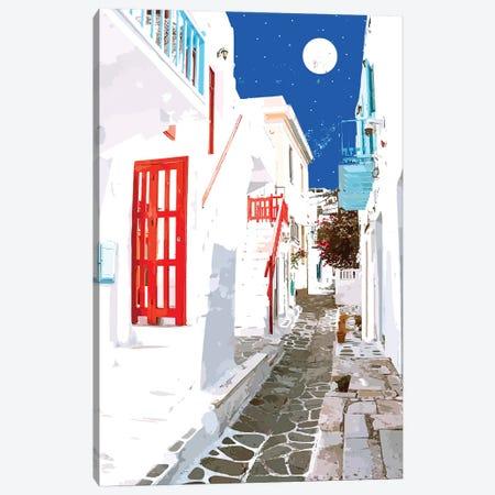 Greek Trip Down Memory Lane, Greece Travel Architecture Building Moon, Tropical Watercolor Painting Canvas Print #UMA874} by 83 Oranges Canvas Print