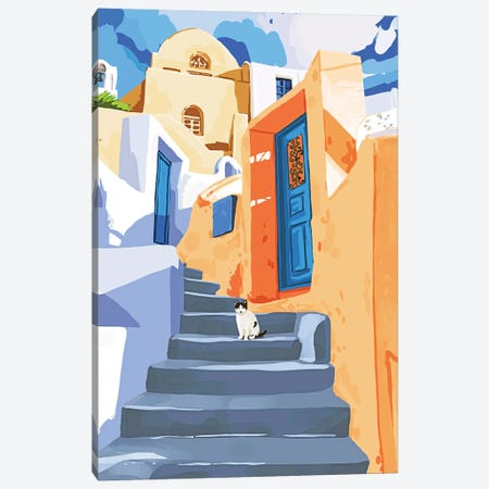 Cat In Greece, Architecture Tropical Exotic Travel Places City, Bohemian Beachy Santorini Painting Canvas Print #UMA875} by 83 Oranges Canvas Print