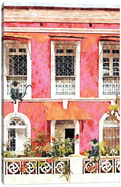 Monkey Business, Colorful Building Architecture, Tropical Goa Mexico Bohemian Watercolor Painting Canvas Art Print