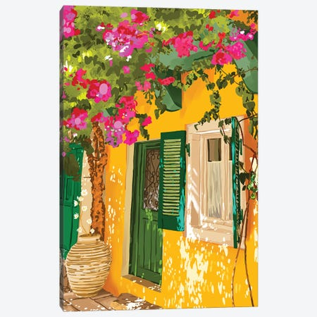 Living In The Sunshine. Always, Travel Sunny Summer Architecture Greece Spain Building Illustration Canvas Print #UMA883} by 83 Oranges Art Print