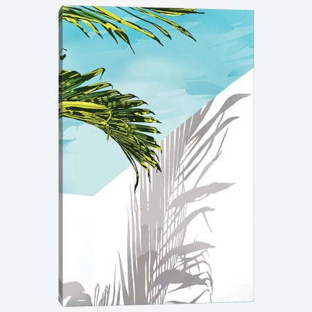 Palms In My Backyard, Tropical Greece Architecture Travel Painting, Summer Scenic Building Canvas Print #UMA884} by 83 Oranges Canvas Art
