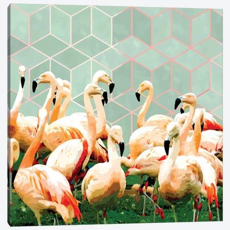 Flamingle Abstract Digital, Flamingo Wildlife Painting, Birds Geometric Collage Canvas Print #UMA899} by 83 Oranges Canvas Artwork