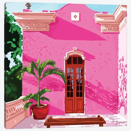 Pink Building, Exotic Modern Architecture, Travel Cities, Morocco, Tropical Spain Illustration Canvas Print #UMA903} by 83 Oranges Canvas Artwork