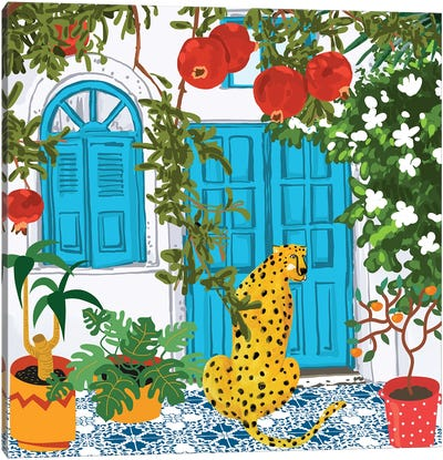 Cheetah Home, Morocco Architecture Illustration, Greece Cats Tropical Urban Jungle Pomegranate Canvas Art Print