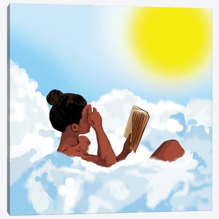 Reading On Clouds, Black Woman Summer Sunny Day Book Painting, Bohemian Nude Canvas Print #UMA909} by 83 Oranges Canvas Artwork