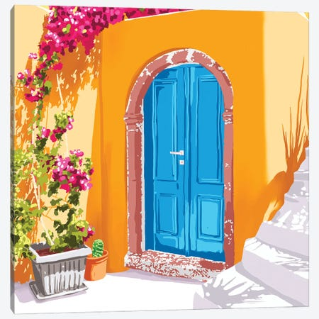 Sunny Morocco, Summer Architecture Greece Travel Painting, Boungainvillea Tropical Floral Canvas Print #UMA911} by 83 Oranges Canvas Art Print