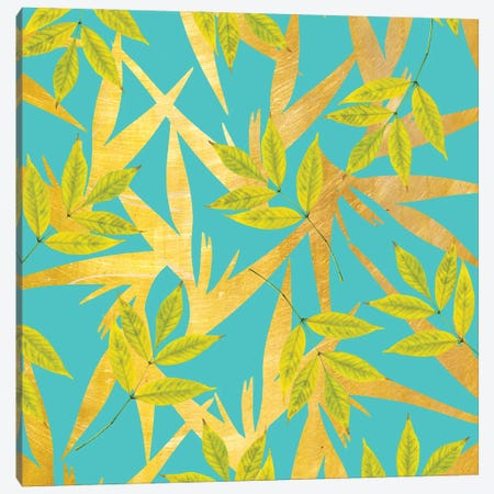 Gold & Teal Florals Canvas Print #UMA965} by 83 Oranges Canvas Print