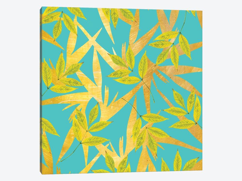 Gold & Teal Florals by 83 Oranges 1-piece Canvas Art Print