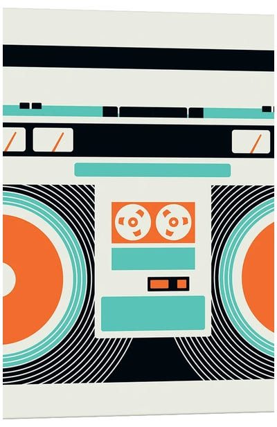 Icons - Ghetto Blaster Canvas Art Print