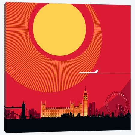 London Red Canvas Print #UND36} by Bo Lundberg Canvas Wall Art