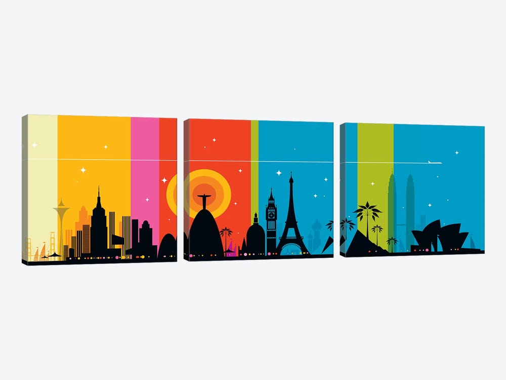 World Icons by Bo Lundberg 3-piece Canvas Print