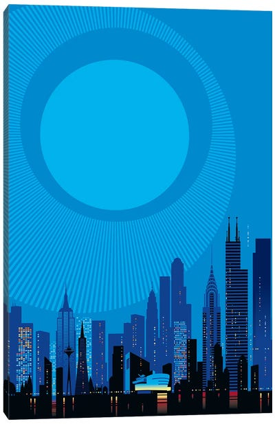 Blue City Canvas Art Print