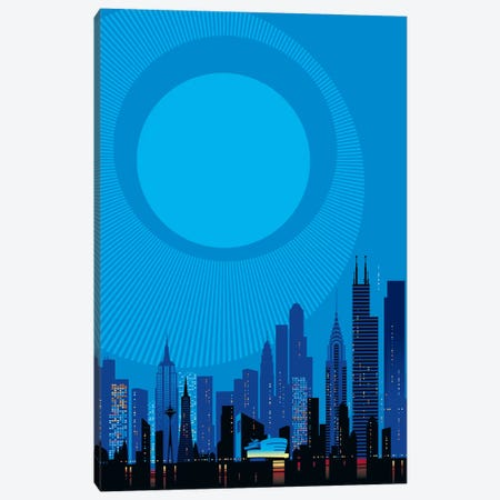 Blue City Canvas Print #UND6} by Bo Lundberg Canvas Print