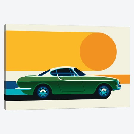 Green Vintage Sports Car With Sun, Side View Canvas Print #UND72} by Bo Lundberg Canvas Art Print