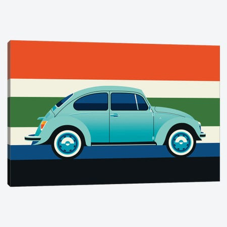 Side View Of Mint Colored Vintage Car With Stripes Canvas Print #UND73} by Bo Lundberg Canvas Art Print