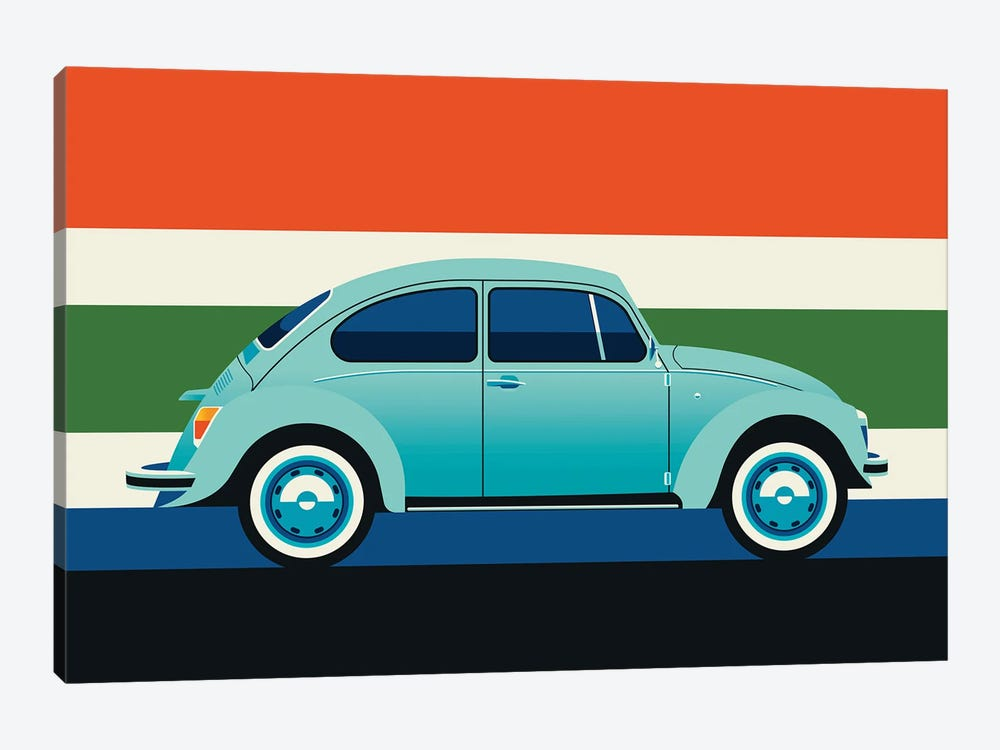 Side View Of Mint Colored Vintage Car With Stripes by Bo Lundberg 1-piece Art Print