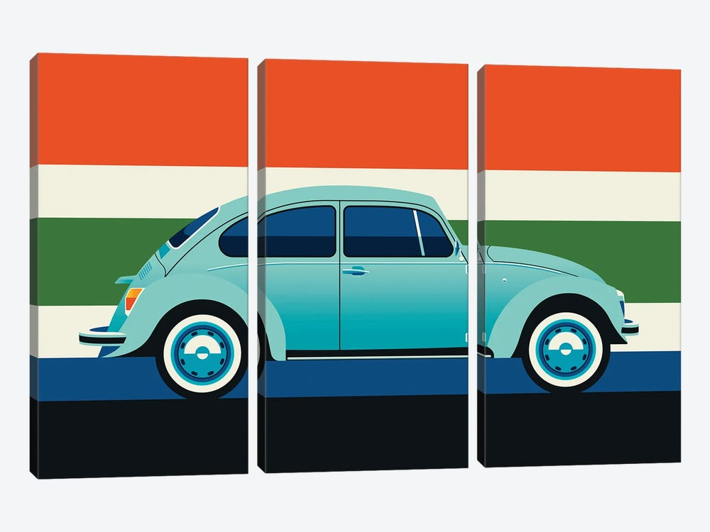Side View Of Mint Colored Vintage Car With Stripes by Bo Lundberg 3-piece Art Print