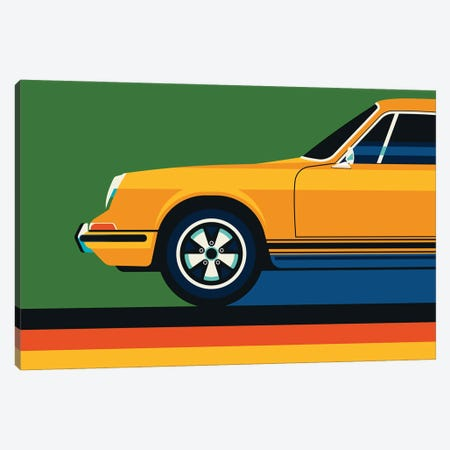 Orange Vintage Sports Car Side Front Canvas Print #UND76} by Bo Lundberg Canvas Art
