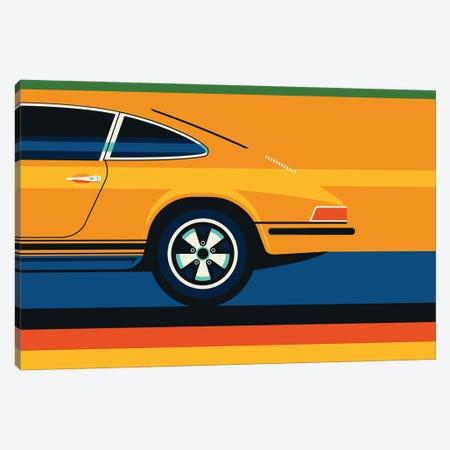 Orange Vintage Sports Car Side Back Canvas Print #UND77} by Bo Lundberg Canvas Wall Art
