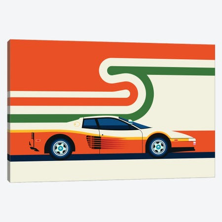 Side View Of Creme Colored Sports Car With Stripes Canvas Print #UND78} by Bo Lundberg Canvas Print