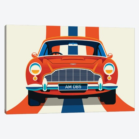 Front View Of Red Vintage Car With Stripes Canvas Print #UND79} by Bo Lundberg Canvas Print