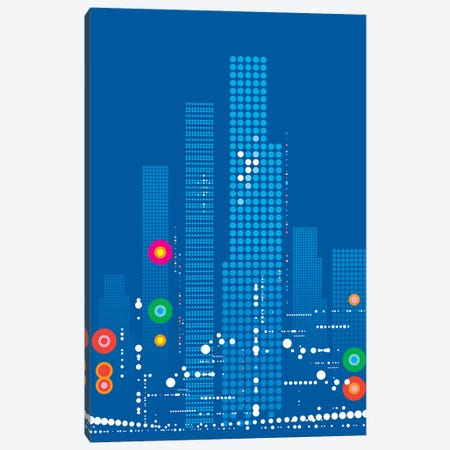 Blue City Rush Canvas Print #UND7} by Bo Lundberg Art Print