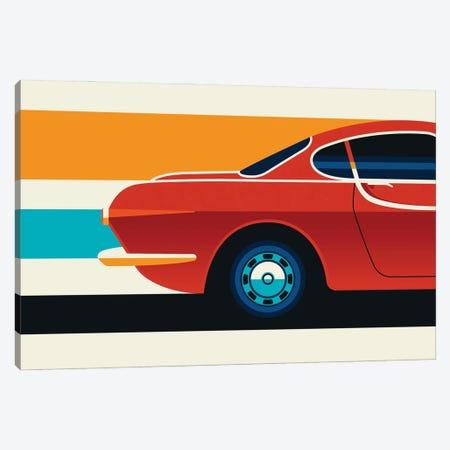 Red Vintage Sports Car Side Back Canvas Print #UND80} by Bo Lundberg Canvas Art