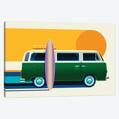 Green Vintage Camping Bus With Sun And Surf Board Canvas Print #UND81} by Bo Lundberg Canvas Artwork