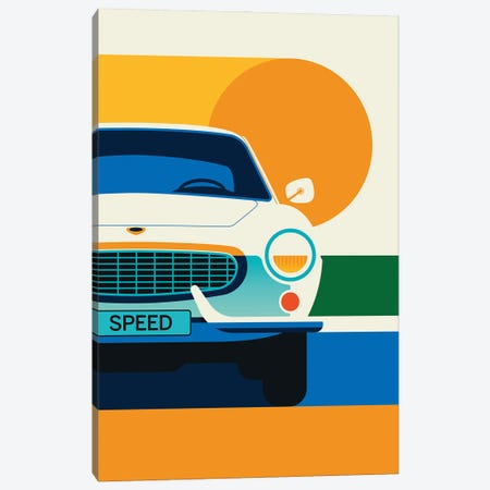 Front View Of White Vintage Sports Car With Sun Canvas Print #UND83} by Bo Lundberg Canvas Artwork