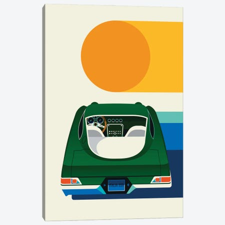 Back View Of Green Vintage Car With Sun Canvas Print #UND99} by Bo Lundberg Canvas Art Print
