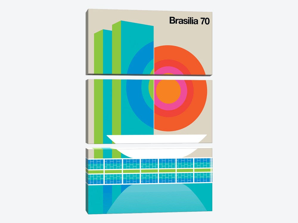 Brasilia 70 by Bo Lundberg 3-piece Canvas Print