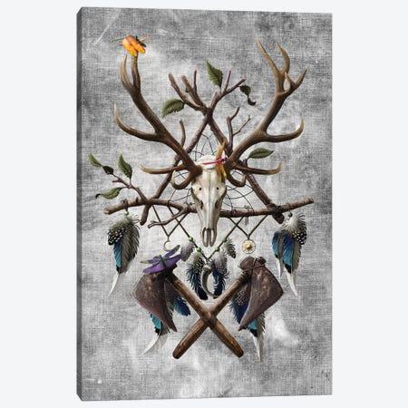 Native American Skull Canvas Print #UNI10} by Sunima Canvas Artwork