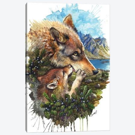 Wolf Cub Kiss Canvas Print #UNI19} by Sunima Canvas Art