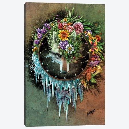 Wolf Seasons Dreamcatcher Canvas Print #UNI22} by Sunima Art Print