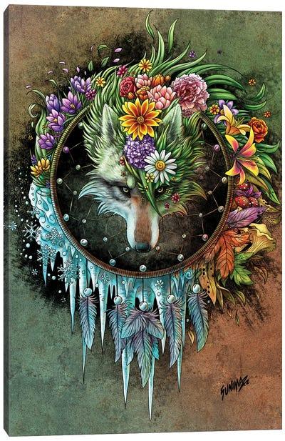 Wolf Seasons Dreamcatcher Canvas Art Print