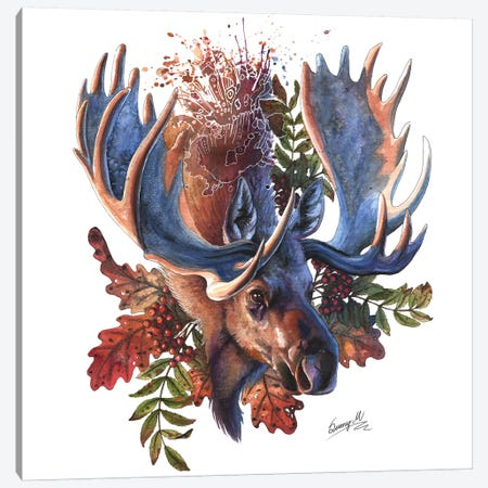 Moose Canvas Print #UNI9} by Sunima Canvas Print