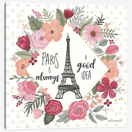Paris is Blooming IV Canvas Print #URA10} by Laura Marshall Art Print