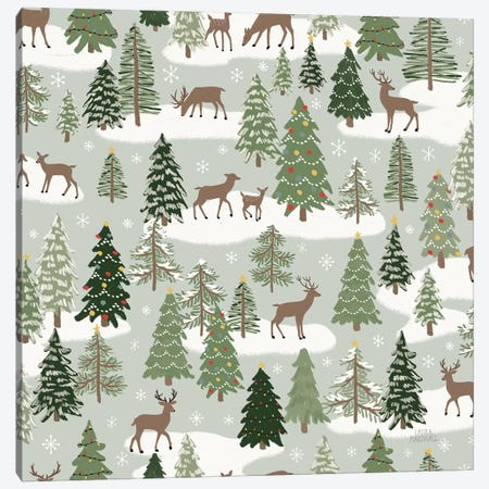 Christmas Village Pattern XI Canvas Print #URA110} by Laura Marshall Canvas Artwork