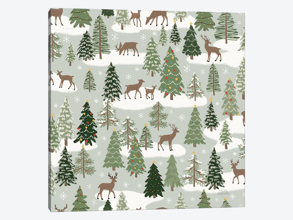 Christmas Village Pattern XI by Laura Marshall 1-piece Canvas Artwork