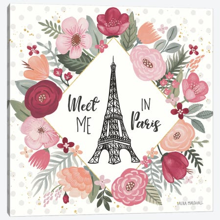Paris is Blooming V Canvas Print #URA11} by Laura Marshall Canvas Art Print