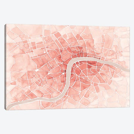 Watercolor Wanderlust London Coral Canvas Print #URA148} by Laura Marshall Canvas Art Print