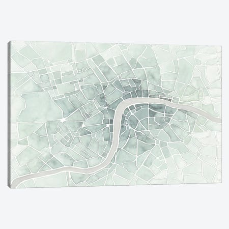 Watercolor Wanderlust London Mint Canvas Print #URA149} by Laura Marshall Art Print