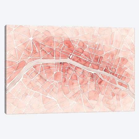 Watercolor Wanderlust Paris Coral Canvas Print #URA150} by Laura Marshall Canvas Artwork
